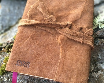 REAL LEATHER JOURNAL Brown Hand Torn Personalized Rustic Leather Journal Sketchbook Notebook Travel Gift Journal  in Silky Suede