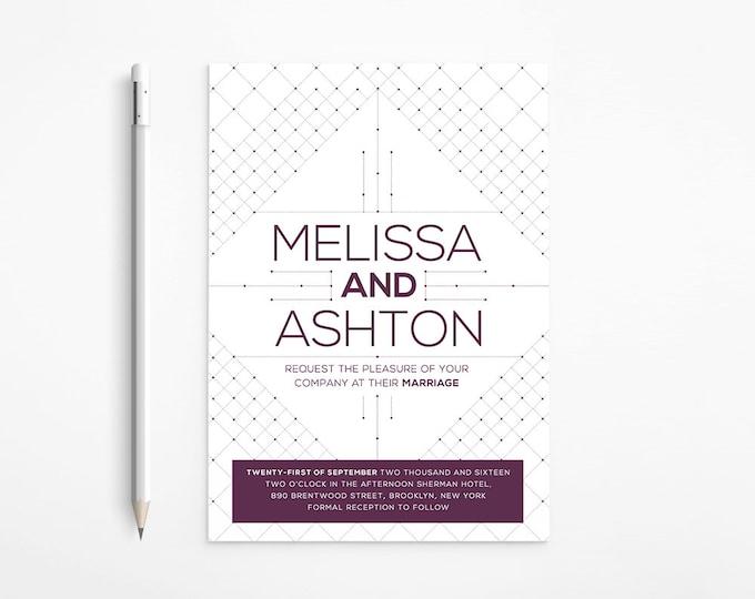 Geometric Purple Wedding Invitation, Modern, Art Deco, Roses, White, Simple - Floral - Art Nouveau, Printable