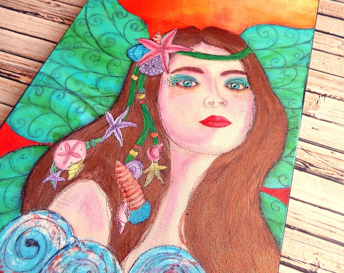 "Ocean Fairy Canvas Art   Mermaid Painting   Ocean Art   Beach Decor   Sea Nymph   ""Nereid""   Saltons Cove Studio"