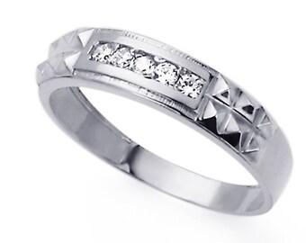 Men 14K White Gold CZ Five Stone Wedding Band Ring / Free Gift Box(ATR295GW)