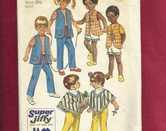 1970 Simplicity 9184 Retro Kids Clothes Long Vest Poncho & Shorts Size 3