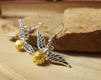 Fast Free Shipping! Nerdy Book Enthusiast Earrings Golden Winged Ball with Regular Hooks, Sterling Silver Option, or Clip On Option