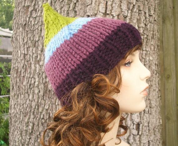 Knit Hat Womens Hat - Gnome Hat in Sugarbush Green Blue Purple Knit Hat - Womens Accessories Winter Hat
