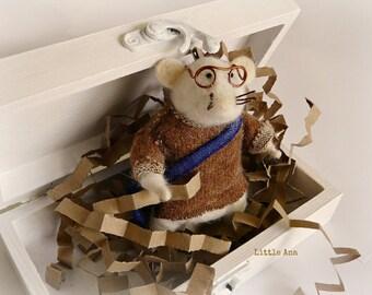 SALE - Needle felted mouse - Cedric - fiber art, felted ornament, soft sculpture, plush mininature, felted toys