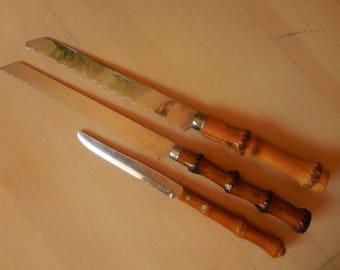 Three Vintage Real Bamboo Handled Knives