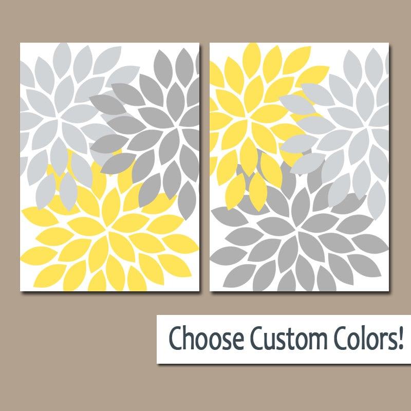 Yellow Gray WALL ART Canvas or Prints Bathroom Decor