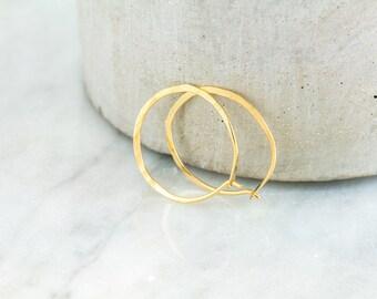 14k Gold Thin Hoop Earrings - Minimalist Earrings - 14k Solid Gold Hoop Earrings - Recycled Gold Hoops - Gift For Her - Sleeper Earrings