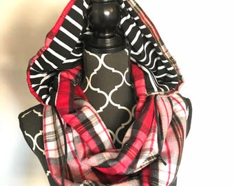 Flannel and Stripes Hoodie Infinity Scarf