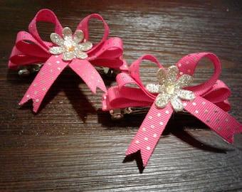 2 Hott Pink Hair Bows