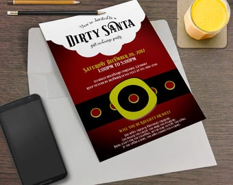Dirty Santa Printable Christmas Party Invitation - Holiday Party, Secret Santa, Santa Laundry, Santa Suit, Santa Belt, Dirty Santa Party