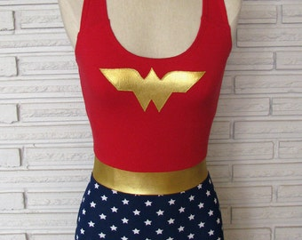 Wonder Woman Costume, Leotard, Bodysuit, Aerial Costume, Made to Order