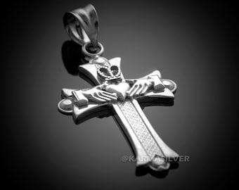 Silver Claddagh Cross Pendant Necklace .925 Sterling Silver Irish Claddagh Cross Charm