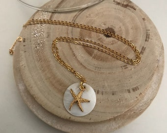 Gold plated Pearl Starfish necklace