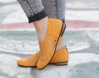 Leather Shoes, Leather Sandals, Women Sandals, Women Shoes, Summer Shoes, Yellow Shoes, Handmade Shoes, Cutout Sandals, Free Shipping