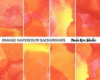 Orange Watercolor Background Digital Paper Instant Download for Commercial Use