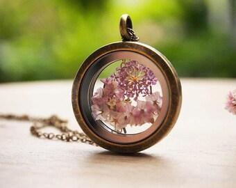 Glass Terrarium Necklace, Real Flower Necklace, Secret Garden Necklace, Glass Locket Necklace, Botanical Necklace, Nature Gift for her