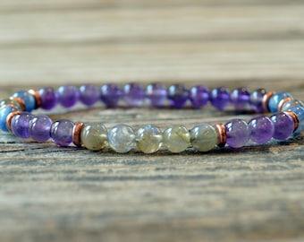 Spiritually Awakening, Labradorite Bracelet, Kyanite Bracelet, Amethyst Bracelet, Yoga Bracelet, Meditation Bracelet, Mala, Energy Bracelet