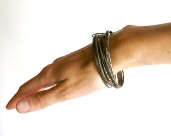 Bracelet set of 7 bracelets + 1 engraved antique vintage brass