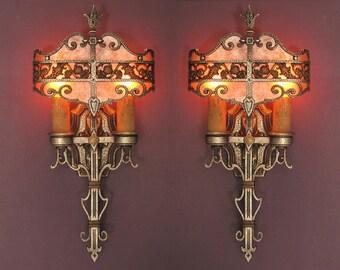 Tudor Style Sconces Original Finish Pair