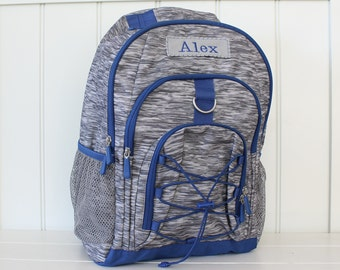 Large Personalized Backpack Upcycled PBteen (Large Size) -- Gray Heather with Blue Trim