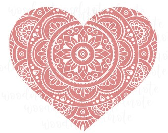 Mandala Heart SVG Love Zentangle Pink Heart Happy Lover PNG Printable Relaxing