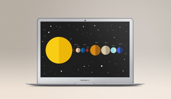 Planets Desktop Wallpaper, Milky Way Illustration Background, Minimalistic  Screensaver Space design, Computer and Laptop Instant Download