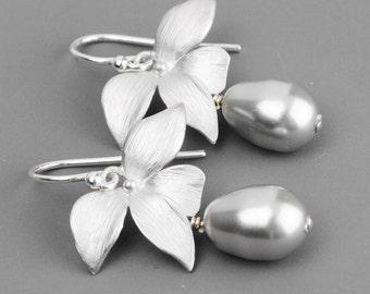 Gray Pearl Drop Earrings - Flower Earrings - Bridesmaids Earrings - Teardrop Earrings - Swarovski Jewelry - Silver Pearl Earrings