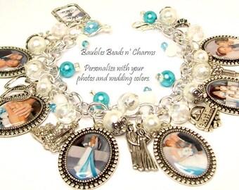 Your Wedding Photos Charm Bracelet Jewelry, Personalized Wedding Charm Bracelet Jewelry, Custom Wedding Photo Charm Bracelet Jewelry
