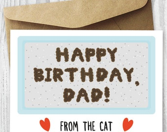 Funny Printable Birthday Card from The Cat, Birthday Card for Him Digital Download, Gross Birthday Card for Cat Dad, Fur Dad Birthday Cards