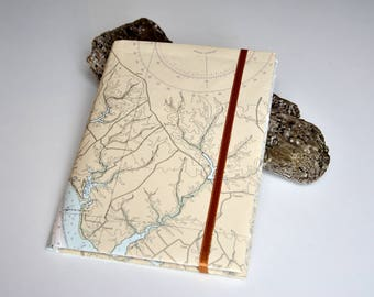 Notebook A5 vertical - 16 pages - Recycled paper - Cover from nautical chart - Unique model - Recycling - Upcycling - Handmade in Denmark