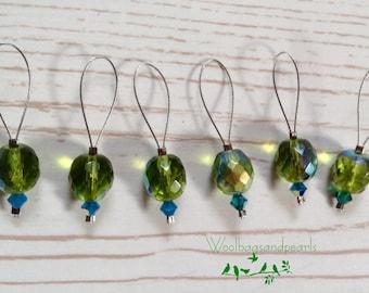6 marker ' green glass ', Stitchmarker