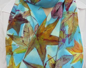 silk scarf crepe hand painted Autumn Leaves wearable art women unique sweetgum leaf colors fashion