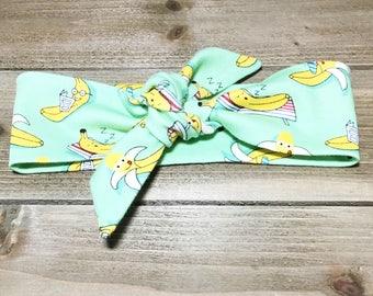 Banana Headband- Baby Headwrap Baby Head Wraps Tie Knot Headband Matching Baby Headbands Girls Headbands Newborn Headband Jersey Knit