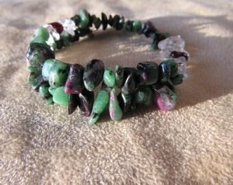 Ruby Zoisite Fuchsite Bracelet, Garnet, Quartz, Healing stones, Gemstone Synergy, Vitality, Strength Energy