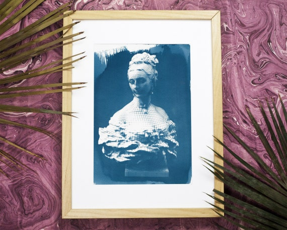 3d-Render of Victorian Woman Bust Cyanotype Print on Watercolor Paper, A4 size (Limited Edition)
