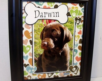 Dog Bone Photo Keepsake - Personalized 8x10 UNFRAMED Insert for 4x6 or 5x7 Horizontal or Vertical Photo - Any Message, Any Accent Color
