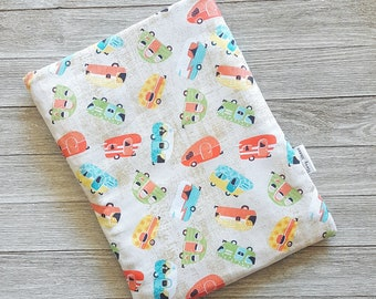 Happy Camper Book Sleeve Story Sleeve - book cover, tablet sleeve, e-reader sleeve, kindle case, gift for her, teacher gift, iPad cover, fun