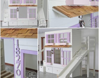 Custom twin over removable twin playhouse loft bed with slide and drawer storage stairs