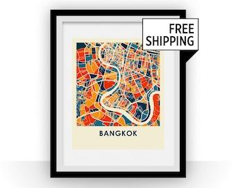 Bangkok Map Print - Full Color Map Poster