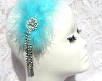 hair jewelry with turquoise feathers and Crystal brooch