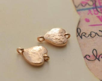 5 of tiny gold heart link charm connector pendant 7*7mm