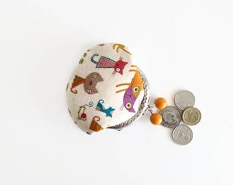 Kiss Lock Coin Purse, Cute Cats Fabric, Cat Lovers Gift, Christmas Gift, Stocking filler