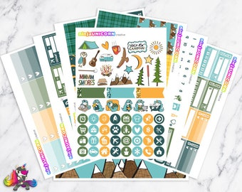 Let's Go Camping || Planner Sticker Kit, Camping Stickers, Planner Stickers, Planner Kit, Weekly Planner Kit, Vacation Stickers