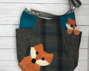 crossbody bag, 241 tote bag, upcycled wool bag, handfelted wool bag,handmade bag, fox bag