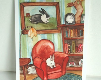 The Red Chair - Fine Art Rabbit Print
