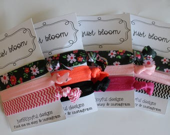 Just Bloom - No Crease Hair Tie - Party Favors - Soft Hair Tie - Workout Hair Tie