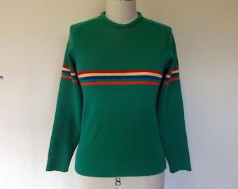 1970s Green wool ski sweater