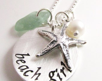 Beach Girl Necklace - beach charm necklace - hand stamped necklace - Beach Jewelry - Star Fish - Sea Glass Necklace - gift for beach lover