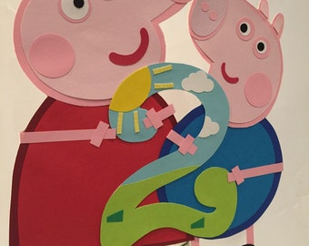 Peppa pig birthday party, Peppa pig cake topper, George cake topper