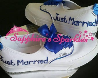 Just Married Vans Bride Vans Bling Vans White Vans Wedding Vans Wedding Shoes Bride Shoes Prom Shoes Prom Vans Royal Blue Wedding Pumps